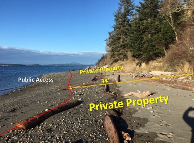 The 1st photo is looking north at the surveyor's SW corner stake(at the surveyed Mean High Water line) showing the Clure property's southerly boundary where it adjoins the Bailey property. The surveyor was hired by the Land Bank. The MHW line is 34 feet seaward from the bluff. The MHW line ranges from a minimum of 24 feet to 40+ feet along the entire two mile beach. Surveys and pictures don't lie: virtually all the sandy pocket beaches and driftwood are on private property.